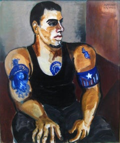 Portrait of Johnny with Tattoos (Male seated w/ tattoos of Puerto Rican Flag)