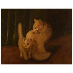 Arthur Heyer, Hungarian Artist, 2 White Cats, Oil on Canvas