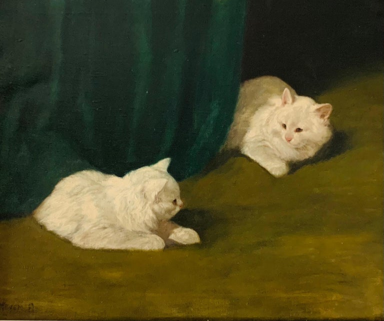Two White Cats Relaxing Among Green Curtains by Arthur Heyer For Sale 2