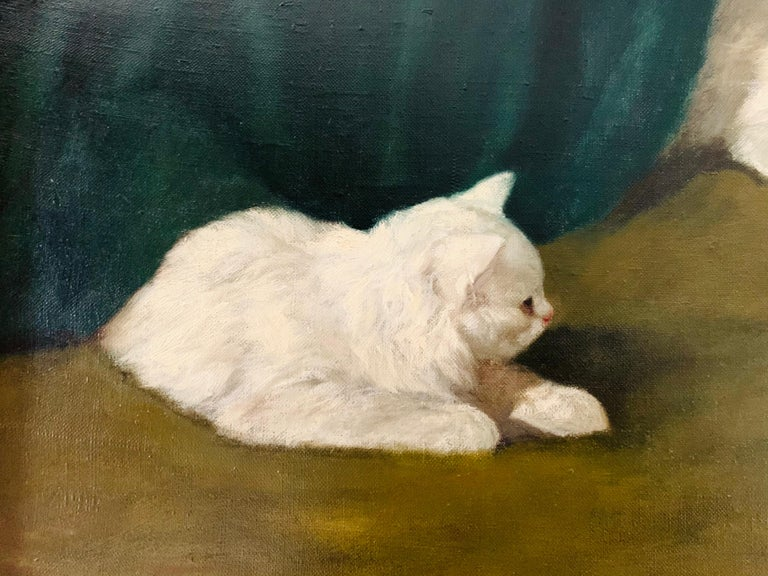 Two White Cats Relaxing Among Green Curtains by Arthur Heyer For Sale 3