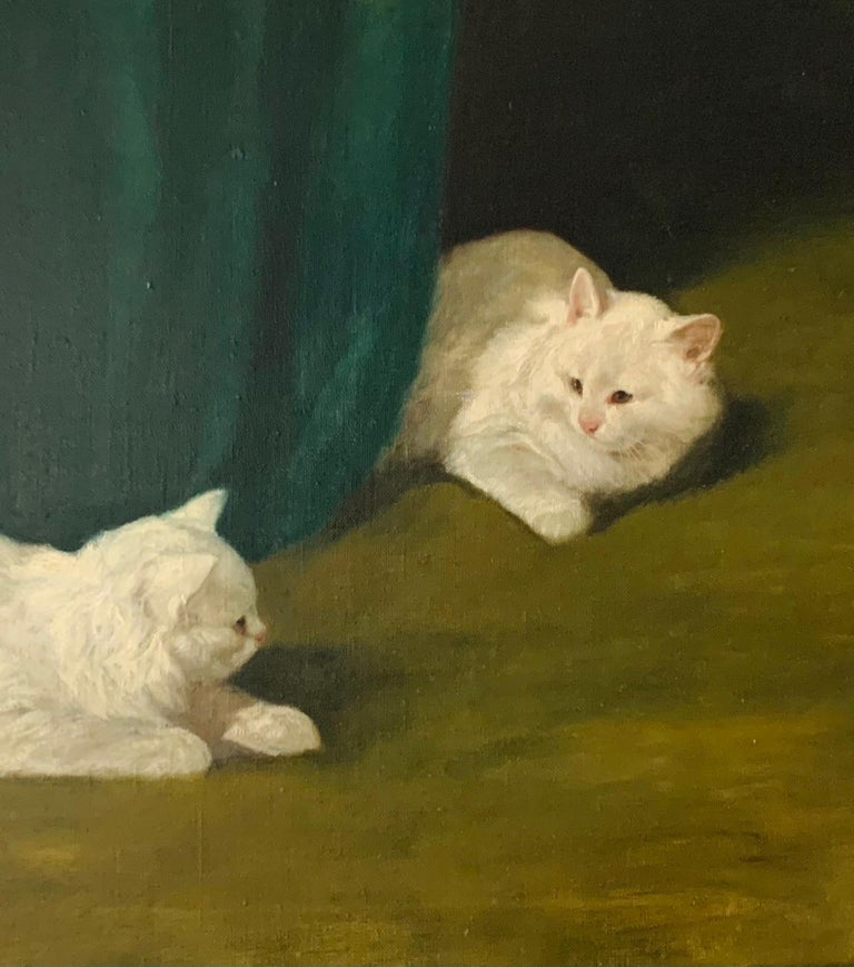 Two White Cats Relaxing Among Green Curtains by Arthur Heyer For Sale 4