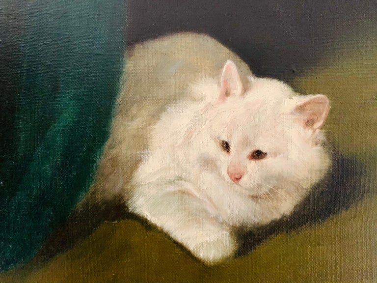 Two White Cats Relaxing Among Green Curtains by Arthur Heyer For Sale 5