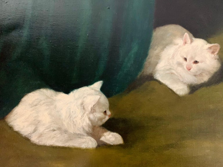 Two White Cats Relaxing Among Green Curtains by Arthur Heyer For Sale 6