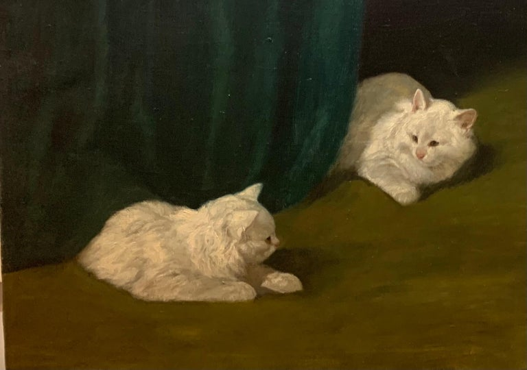 Two White Cats Relaxing Among Green Curtains by Arthur Heyer For Sale 8