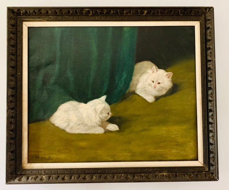 Two White Cats Relaxing Among Green Curtains by Arthur Heyer For Sale 1