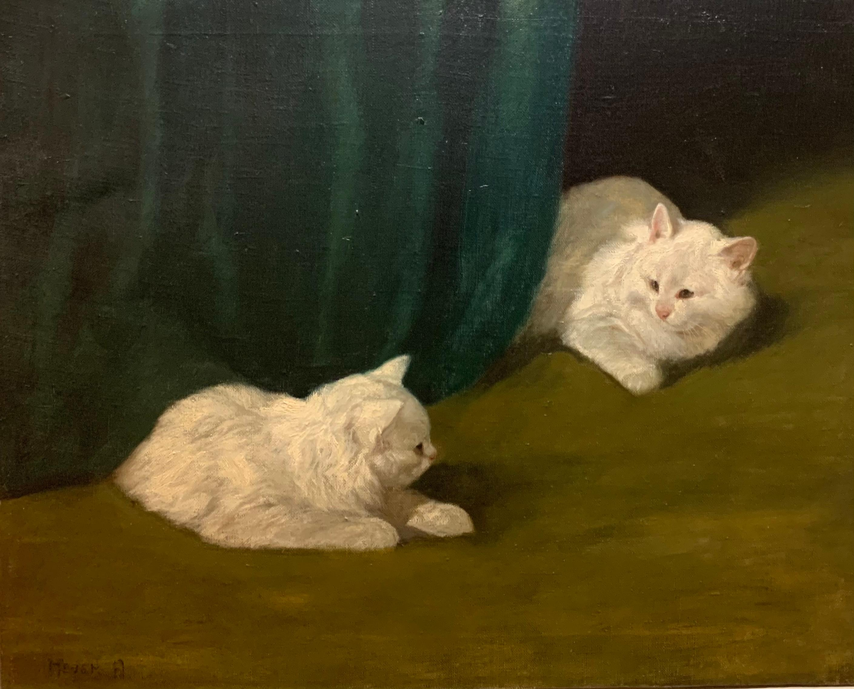 Two White Cats Relaxing Among Green Curtains by Arthur Heyer