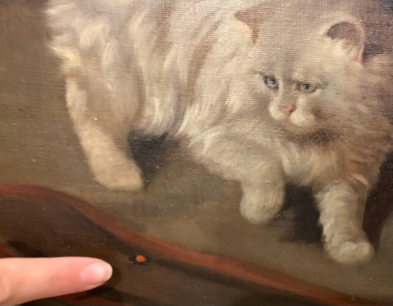 White Fluffy Cat With One Raised Paw Stalking a Bug on the Floor - Painting by Arthur Heyer