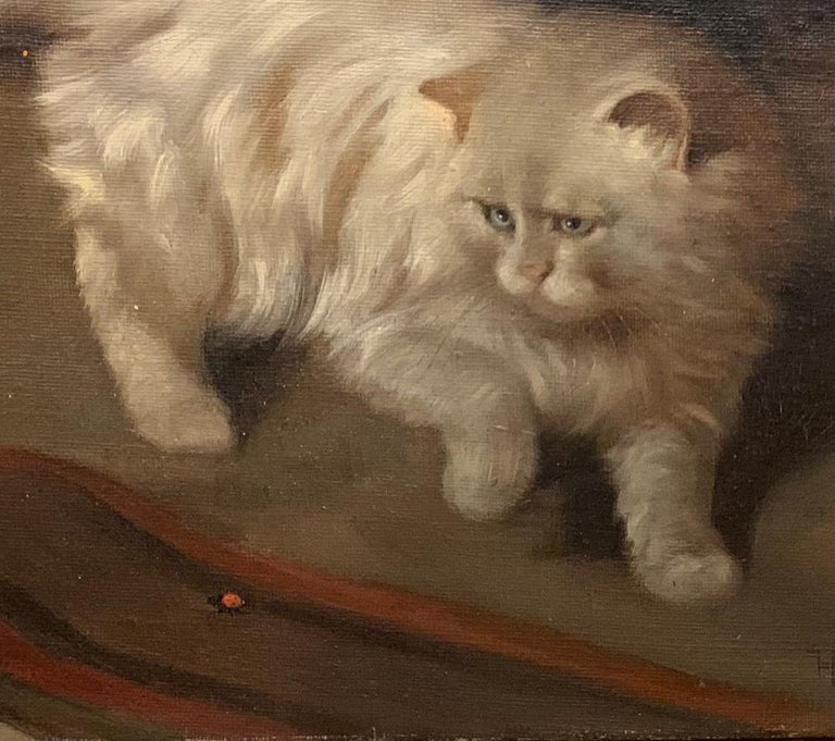 White Fluffy Cat With One Raised Paw Stalking a Bug on the Floor - Realist Painting by Arthur Heyer