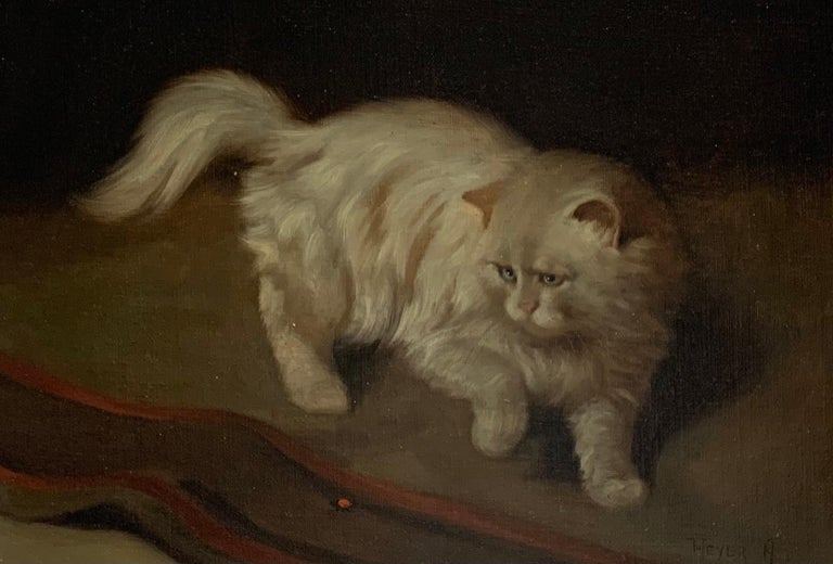 White Fluffy Cat With One Raised Paw Stalking a Bug on the Floor - Brown Animal Painting by Arthur Heyer