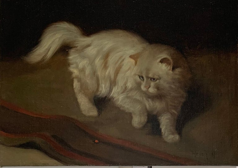 Arthur Heyer, 1871-1932 Oil on canvas Circa 1890 Signed on the front.   Portrait of a very fluffy white cat intently stalking a small red bug on the floor in front of him, with one raised paw ready to strike.   Arthur Heyer was born in Haarhausen.