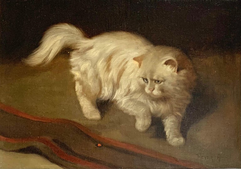 Arthur Heyer Animal Painting - White Fluffy Cat With One Raised Paw Stalking a Bug on the Floor