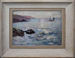 Antique American Impressionist Sunset Seascape Harbor Sailing Coast Oil Painting