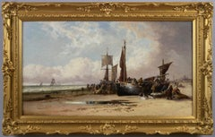 19th Century seascape oil painting of fishing boats at Dunkirk Beach