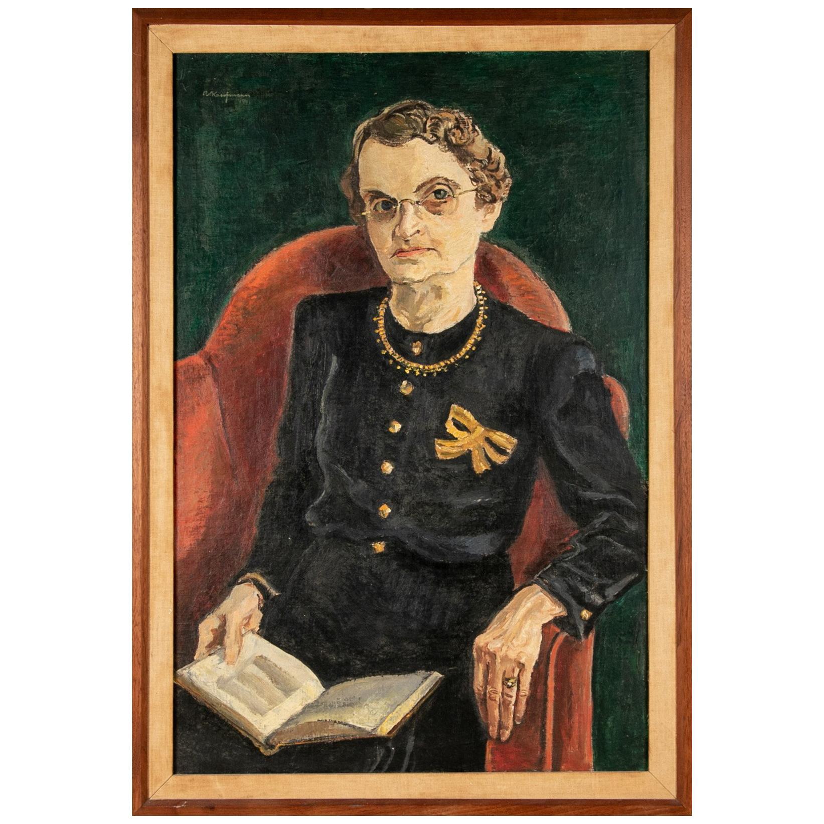 Arthur Kaufmann Oil on Canvas Portrait of Edith Margaret Edwards, Wormley, 1941