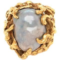 Arthur King 18 Karat Yellow Gold Baroque Pearl Ring