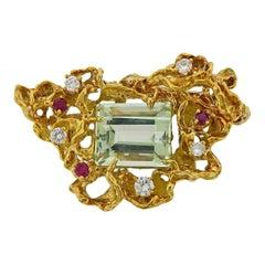 Arthur King 1970s Aquamarine Diamond Ruby Gold Freeform Brooch Pendant