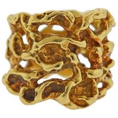 Arthur King 1970s Gold Freeform Band Ring