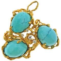 Arthur King 1970s Large Freeform Diamond Turquoise Brooch Pendant