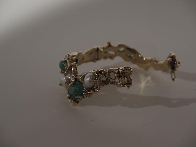 Arthur King 1970s Organic Gold, Emerald, Pearl and Diamond Bracelet For Sale 4