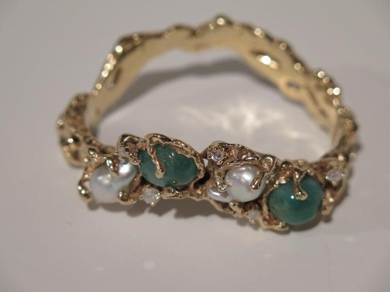Arthur King 1970s Organic Gold, Emerald, Pearl and Diamond Bracelet For Sale 5