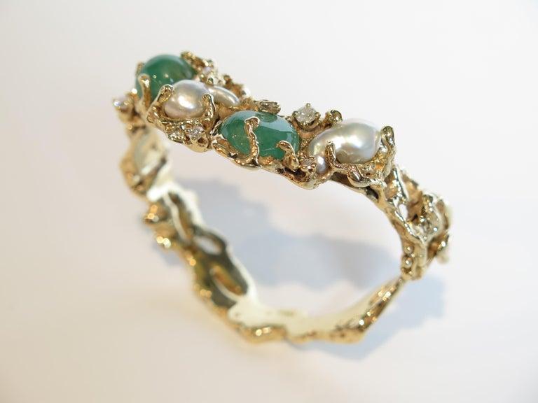 Modern Arthur King 1970s Organic Gold, Emerald, Pearl and Diamond Bracelet For Sale