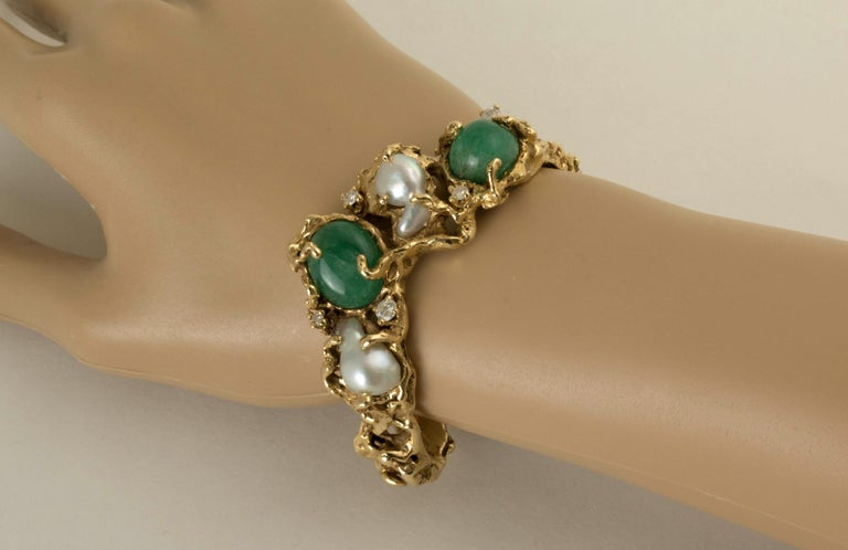 Round Cut Arthur King 1970s Organic Gold, Emerald, Pearl and Diamond Bracelet For Sale