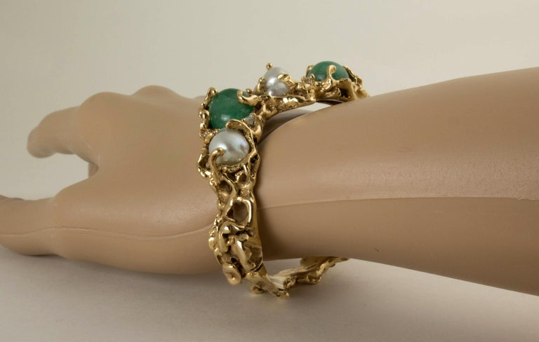 Arthur King 1970s Organic Gold, Emerald, Pearl and Diamond Bracelet In Good Condition For Sale In Austin, TX