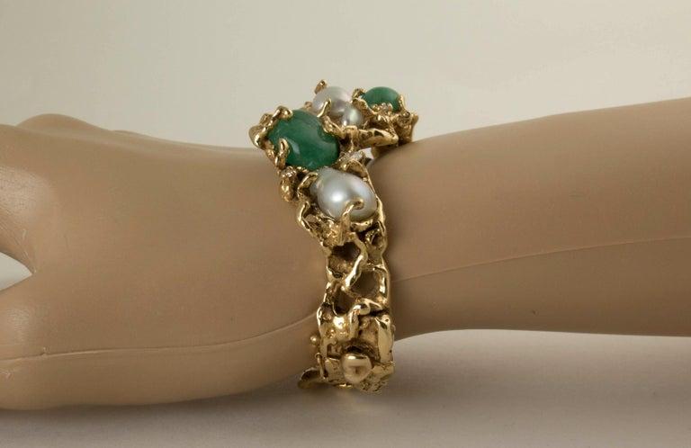 Women's Arthur King 1970s Organic Gold, Emerald, Pearl and Diamond Bracelet For Sale