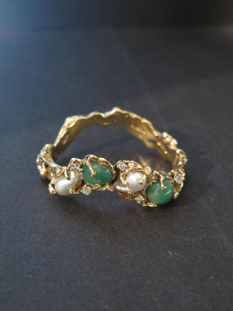 Arthur King 1970s Organic Gold, Emerald, Pearl and Diamond Bracelet For Sale 3