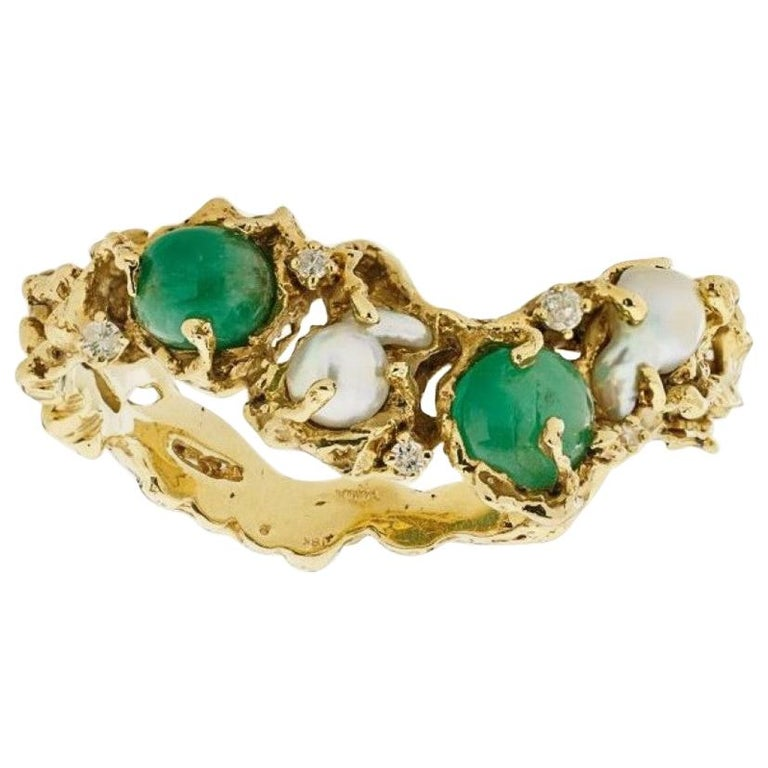 Arthur King 1970s Organic Gold, Emerald, Pearl and Diamond Bracelet For Sale