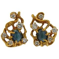 Arthur King Diamond Cat's Eye Chrysoberyl Gold Earrings