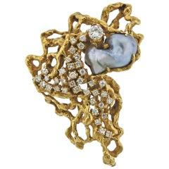Arthur King Diamond Pearl Gold Free-Form Brooch