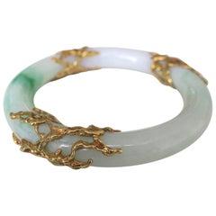 Arthur King Jade and Gold Bangle Bracelet
