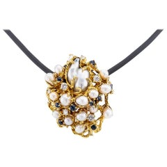 Arthur King Modernist Brooch Pendant Diamond Sapphire Pearl Yellow Gold