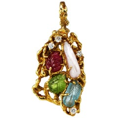 Arthur King Pendant Pearl Ruby Aquamarine 18 Karat Gold Brooch Freeform