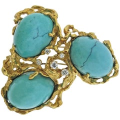 Arthur King Turquoise Diamond Gold Large Free-Form Brooch