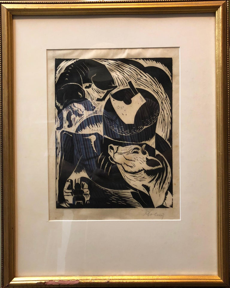 Polish French Expressionist Judaica Woodcut Had Gadya from Passover Haggadah - Print by Arthur Kolnik