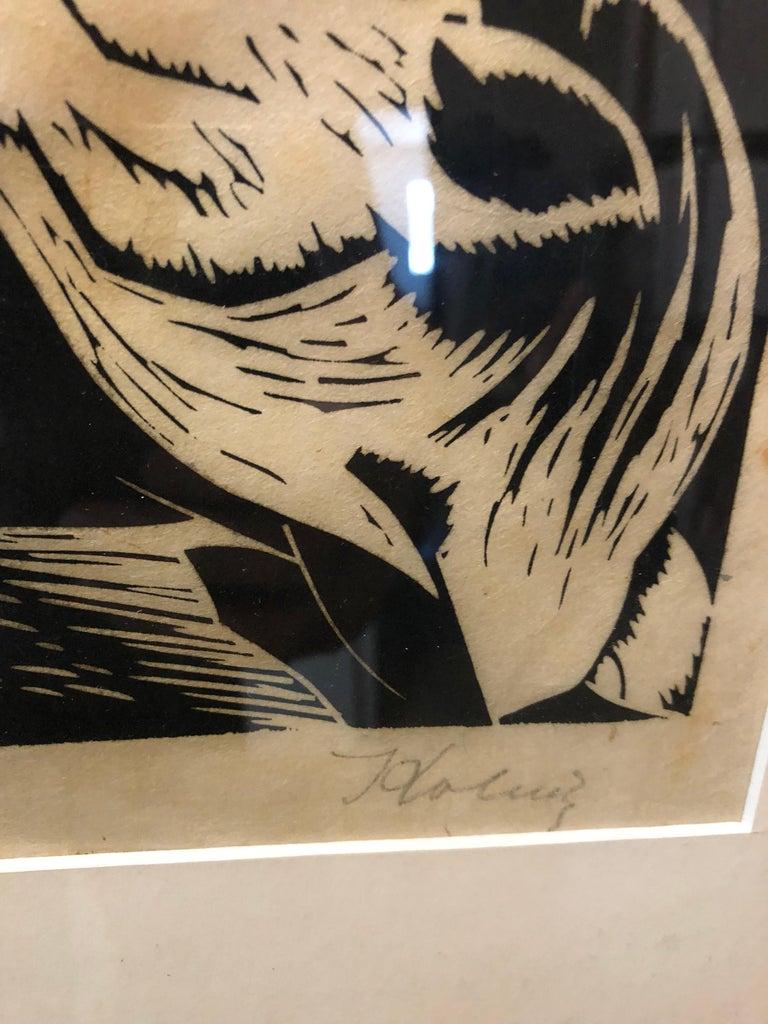 Polish French Expressionist Judaica Woodcut Had Gadya from Passover Haggadah - Black Animal Print by Arthur Kolnik