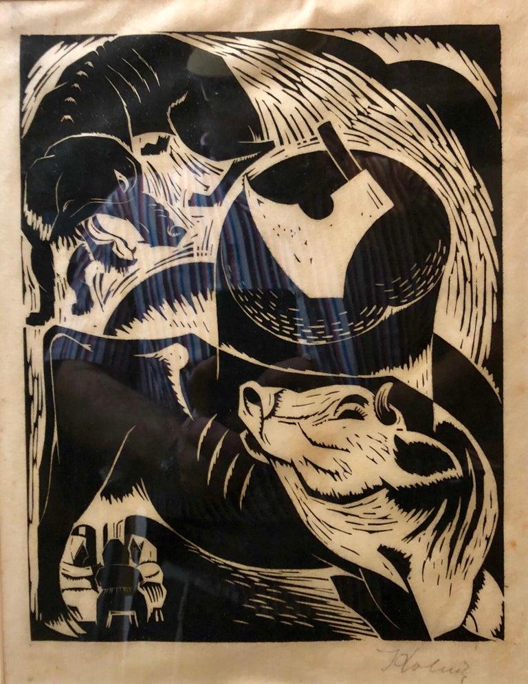 Arthur Kolnik Animal Print - Polish French Expressionist Judaica Woodcut Had Gadya from Passover Haggadah
