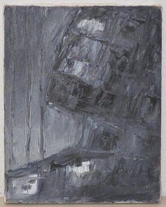"Arthur J. Krakower (1921-2009) ""Black & Gray Abstract"" Original Oil on Canvas c."
