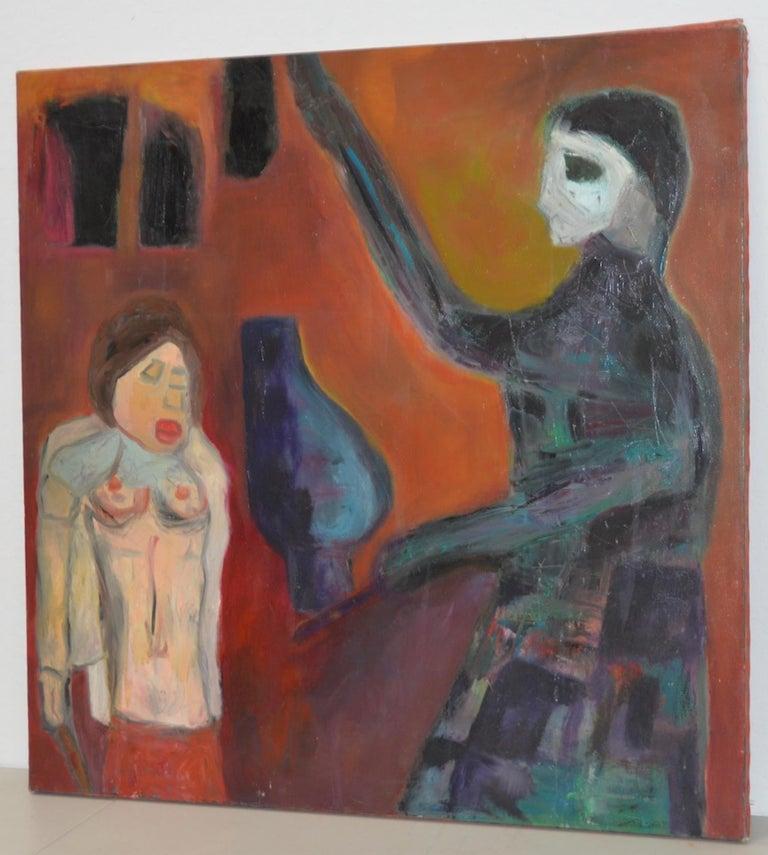 "Arthur Krakower Figurative Painting -  Arthur J. Krakower  ""Suffer - But It Was Worth It"" Oil Painting c.1999"