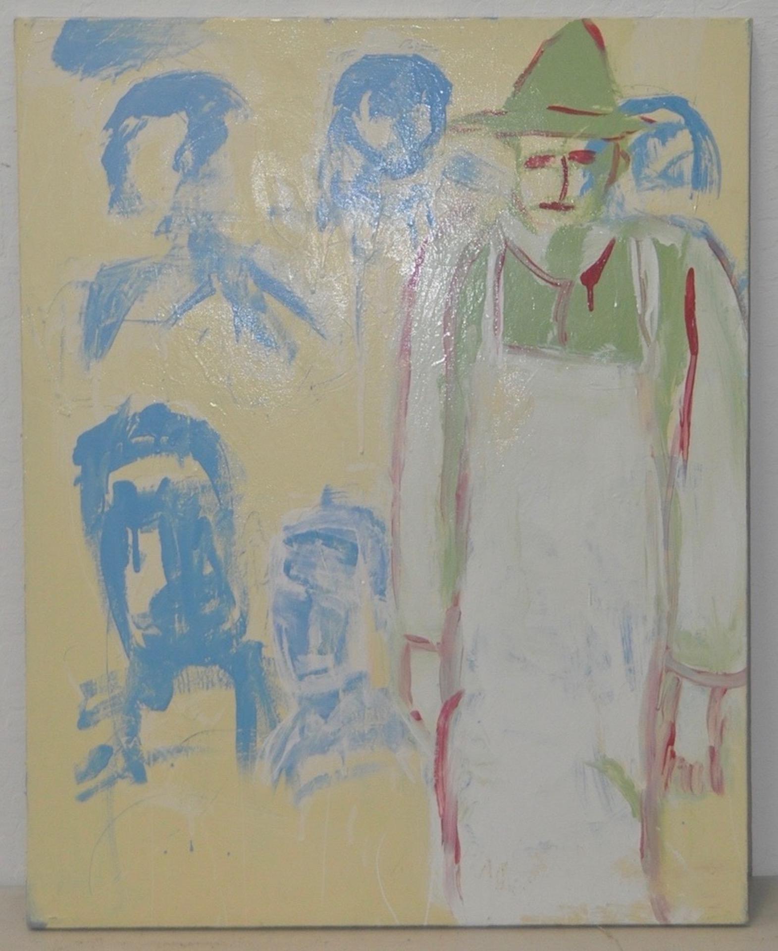 "Arthur J. Krakower ""The Butcher on Featherbed Lane"" Oil on Canvas c.2000"