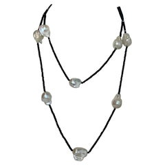 Arthur Marder 24mm Baroque Freshwater Pearl & Black Spinel Necklace rt $1,000