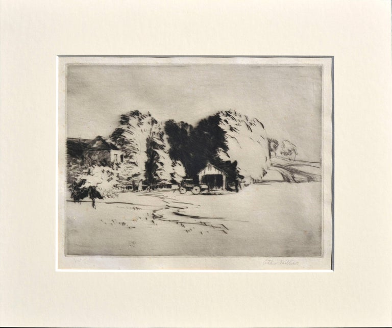 Arthur Millier Landscape Print - The Olives, Santa Monica Canyon Gift by the Artist to Mary Pickford