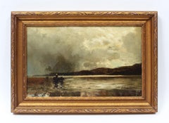 Antique American Original Hudson River School Signed Landscape Oil Painting