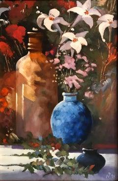 British Still life Lilies and Blue Vase, Signed oil