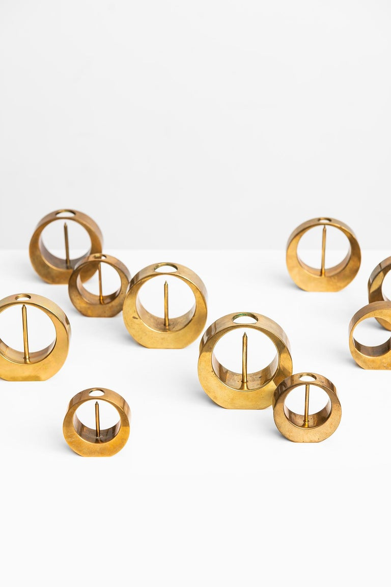 Set of 10 candlesticks designed by Arthur Pe. Produced in his own studio Kolbäck in Sweden.