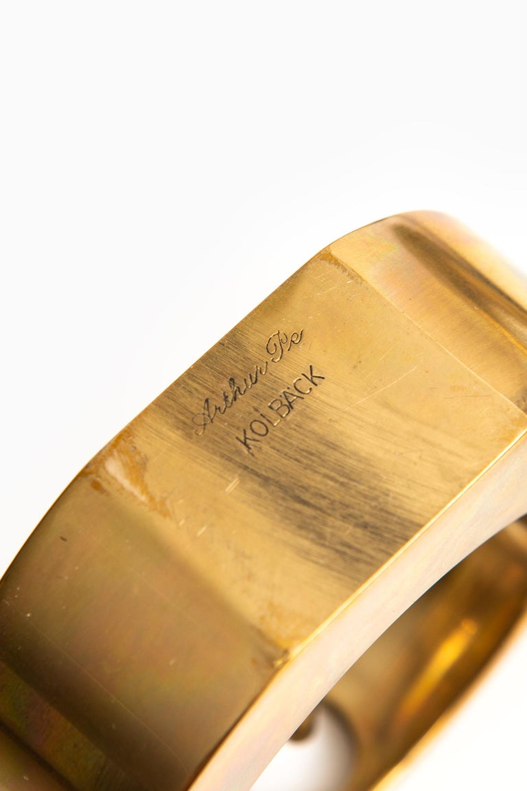 Scandinavian Modern Arthur Pe Candlesticks in Brass Produced in His Own Studio Kolbäck in Sweden For Sale