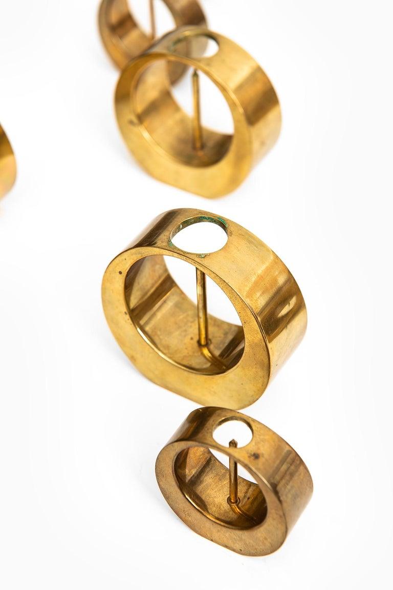 Swedish Arthur Pe Candlesticks in Brass Produced in His Own Studio Kolbäck in Sweden For Sale