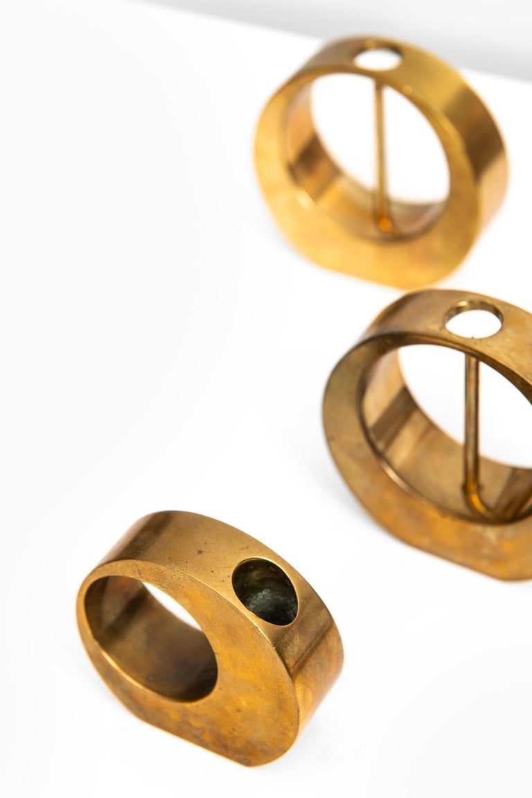 Arthur Pe Candlesticks in Brass Produced in His Own Studio Kolbäck in Sweden In Excellent Condition For Sale In Malmo, SE